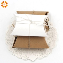 50PCS/lot With Burlap Twine Chic Paper Pillow Gift Box Kraft Paper Candy Boxes PVC Paper Gift Box Bag For Wedding Party Supply