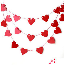 200pcs 1m long heart-shaped cardboard garland wedding party Home Furnishing marriage room decorate the classroom(China)