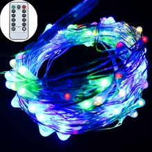 Remote Control Battery LED String Lights Powered by 3AA Livingroom wedding Christmas use Flexible Copper Silver Wire Waterproof