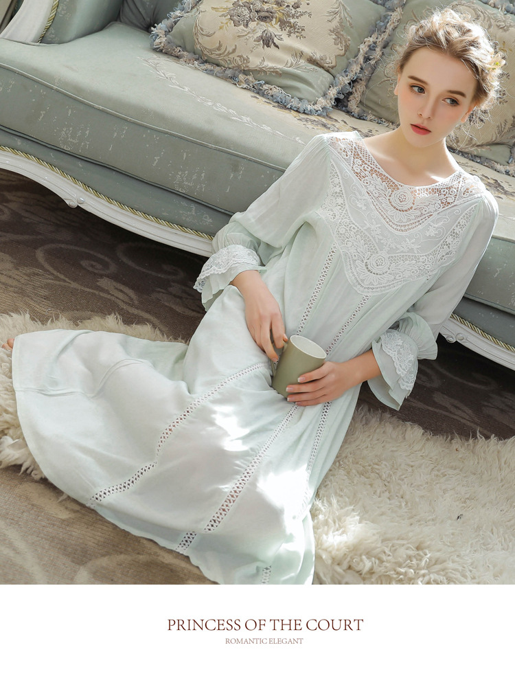 Women Vintage Style Women's Gown Flare Sleeve Pink Cotton Night Dress Long Nightdress Laced Nightshirt Victorian Nightgown 29
