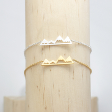 Adventure Gift Charm Snowy Mountain Bracelet Men Gold Color Stainless Steel Bracelets For Women Hiking Jewelry(China)