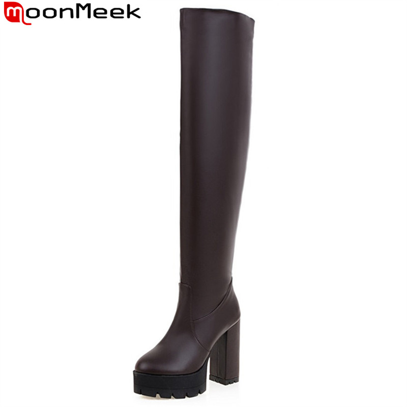 MoonMeek 2017 hot sale new arrive women boots fashion platform ladies boots solid color autumn winter over the knee boots<br>