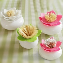 Creative Lotus Cotton Swab Box Case Container Toothpicks Holder Storage Box Organizer Home Table Decoration 8cm(China)