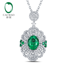 Free shipping 2.12ct Emerald 14kt White Gold Round Cut Diamonds Pendant For Necklace
