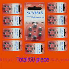 60 x Hearing Aid Batteries A13 13A ZA13 13 PR48(China)