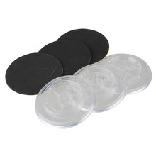 "Yibuy 5.39"" Diameter Round Clear Plastic Grand Piano Caster Cup Foot Pad Set of 3"