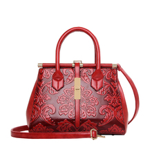 New brown blue green red women's frame shoulder bags handbags for lady female chinese national Embossed floral style sac a main(China)