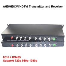 1080P HD AHD CVI TVI Fiber optical video converter, 8 Channel Video Optical Conveter with Reverse RS485 Data Single Mode 20KM