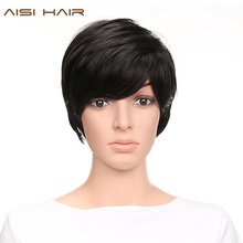AISI HAIR Synthetic Short Pixie Cut Wigs for Black Women Straight Heat Resistant Hair
