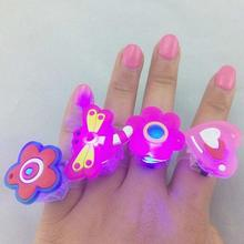 Wholesale New Party Festival LED Flashing Cartoon Ring Children Glow Toys Elastic Material Finger Ring Events Supplies 5 pcs/set(China)