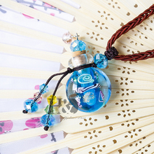 H&D Beautiful Murano Crystal Glass Perfume Bottle Pendant Vial Necklace Baroque (With Cord) Handmade Perfume Bottle Jewelry Gift(China)