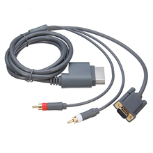NEW HD Slim Video Audio AV PC Monitor VGA Cable 2 RCA Audio Cord Connecter 2 In 1 For Microsoft For Xbox 360(China)