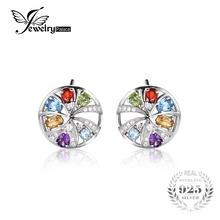 JewelryPalace luxury 2ct Natural Sky Blue Topaz Amethyst Citrine Garnet Peridot Clip Earrings Real 925 Sterling Silver For Women