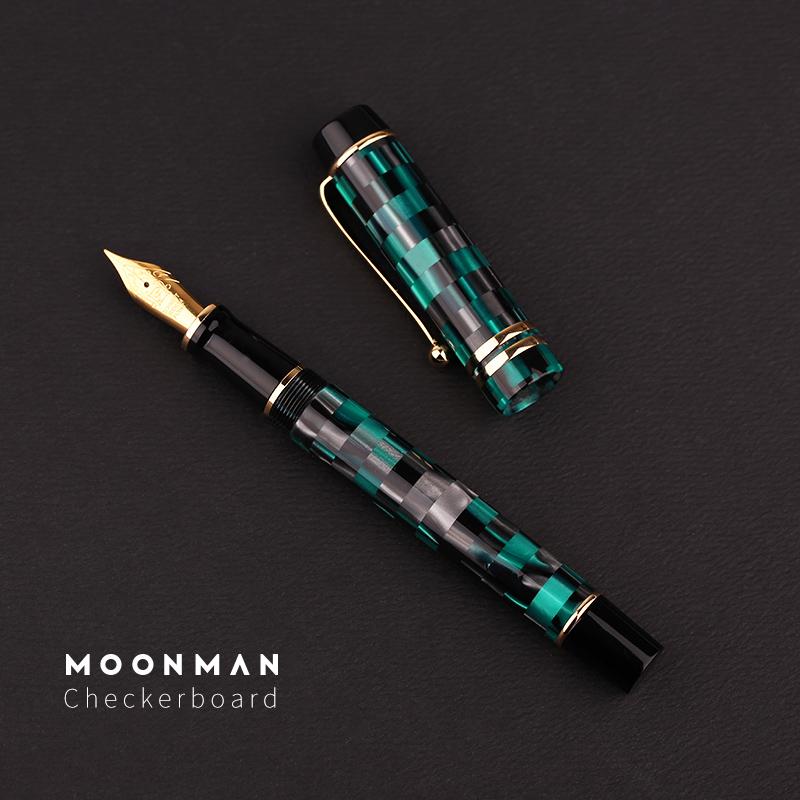 punta fina Schmidt Iridium y clip dorado con caja de regalo Pluma estilogr/áfica Moonman serie M600 barril de acr/ílico de color verde