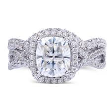 TransGems 2.6 Carat F Colorless Cushion Cut Moissanite Engagement Wedding Ring Set Lab Diamond Accents Solid 14K Women 2 Pieces(China)