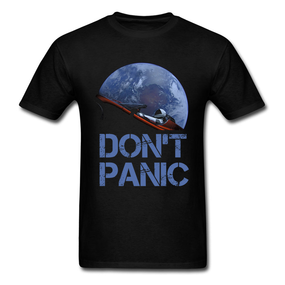 Dont Panic Starman O-Neck T Shirts Summer Tops Tees Short Sleeve New Coming All Cotton Gift Tops T Shirt Europe Men Dont Panic Starman black