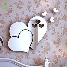 5pcs/pack Heart Mirror Wall Sticker 3d Diy Acrylic Wall Decal Home Decorations Modern Mural Removable Stickers(China)