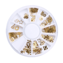12 Slot Gold 3D Design Christmas Nail Sticker Bling Bows Nail Art Manicure Stickers Decals For Women Nails Decoration
