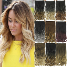 24inch Black to Gray Curly Wavy Hair Extentions Clip in Hair Extension Curly Ombre Hair Piece Hairpiece
