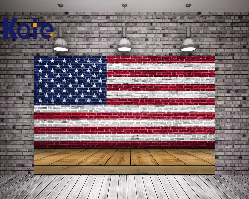 Kate 10X10FT Wood American Flag Photography Background Flag Day Photography Backdrops With Stars Children Wood Floor Photocall <br>