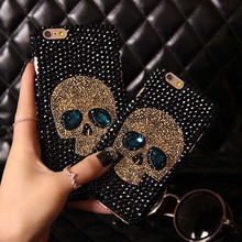 Metal Saphire eye Skull Skeleton Diamond phone Coque capa Case For Apple iPhone 7 plus 7 6 6s plus 5 5s se 5c 4s 4 Case Fundas