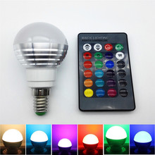 Dimmable 3W 16 Colors LED lamp RGB Magic Spotlight Bulb E14 85V - 265V New Year Decor Nightlight +24keys IR Remote Controller(China)