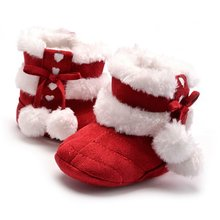 Fashion Newborn Infant Toddler Girls First Walkers Boots Booties 0-1T with Fur and Bow