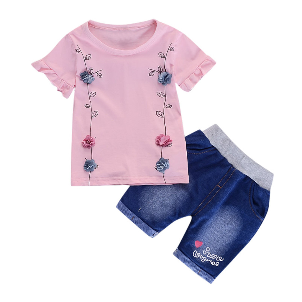 Summer 2pc Infant Toddler Kids Baby Girl Lace Pink Clothes Tops+Short Set Outfit