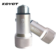 KOYOT Dual USB Port Car Charger Metal Quick Charge Mobile Phone Car-Charger for tablet PC for iPhone7 Samsung USB Cigar Socket(China)