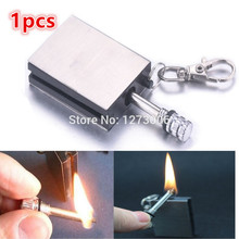 1Pcs Stainless Steel Matchbox Lighters Metal Match The Permanent Fire Flint Lighters Keychain Outdoor Camp Hike HOT SALE Brand