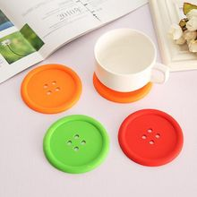 Silicone Cup mat Cute Colorful Button cup Coaster Cup porta copos Cushion Holder Drink cup Placemat Mat Pads coffee pad