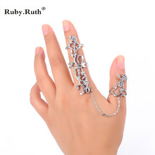 Ring Women Multiple Crystal Stack Knuckle Band Finger Rings(China)