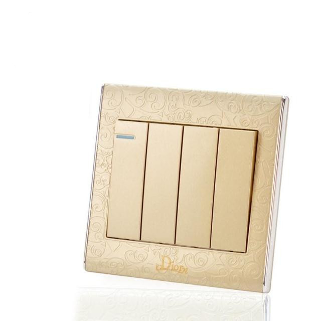 UK Standard Luxury Gold Switch Panel,86*86mm wall switch,110~250V touch swich 4 gang 2 way Wireless Home light Switch<br><br>Aliexpress