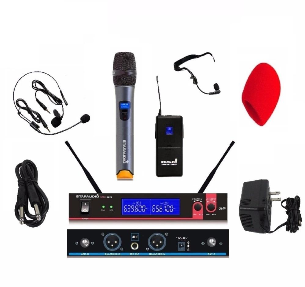 STARAUDIO SMU-0202A+B UHF Wireless 2 Channel Mic System 1 Handheld 1 Headset Microphones for DJ Stage Church Karaoke KTV