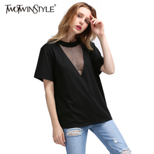 TWOTWINSTYLE 2017 Summer Women Sexy Grid Mesh V Neck T Shirts Tops Short Sleeves White Tee Big Sizes Casual Female Clothes Korea