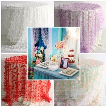 1 Yard Tablecloths wedding reception 3D flowers lace fabric petal chiffon mesh fabric diy 130cm dress clothing accessories(China)
