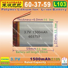 4pcs [L103] 3.7V,1500mAh,[603759] Polymer lithium ion / Li-ion battery for mp3,MP4,mp5;voice recorder pen,smart watch,DVR