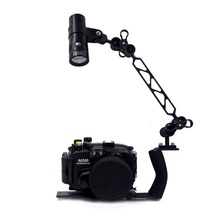 Underwater Waterproof Housing Diving Case For Sony A6000 A6300 A5000 A5100 A7 II Camera + Lighting Arm Bracket + Led Video Torch