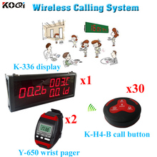 Table Paging System Factory Price Computerized Wireless Waiter Call (1 display 2 wrist watch 30call button)(China)