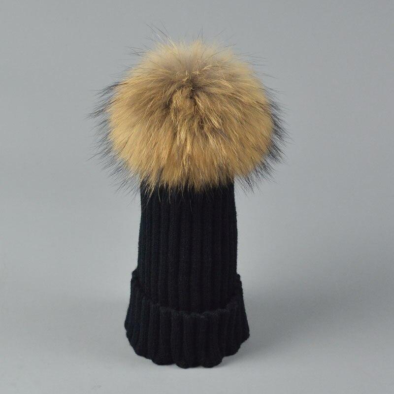 Fashion Children Winter Raccoon Fox Fur Hat For Girls Boys 100% Real Fur pompoms Ball Baby Beanies Cap Crochet Kids Knitted HatsÎäåæäà è àêñåññóàðû<br><br><br>Aliexpress