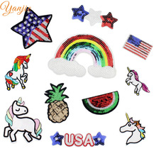 2PCS Unicorn Embroidered Glitter Sequin Fabric Iron On Patch Embellishment For Girls DIY Headband Hair Accessories(China)