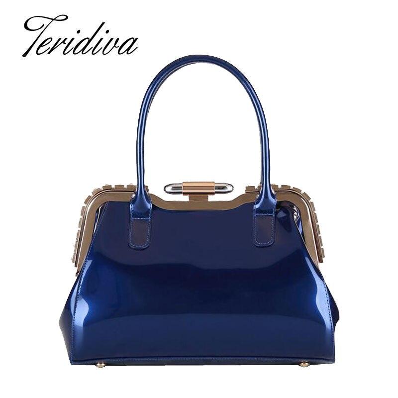 Teridiva Brand Womens Bags Ladies Handbags Elegant Bag Candy Color Blue Patent Leather Handbag Diamond Solid Party Shell Luxury<br><br>Aliexpress