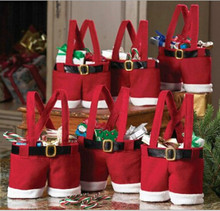 6pcs/lot Red Santa Father Pants toy Candy Bags sacks Useful Christmas Gift Holiday New Year Candy Day marry festival bag #f