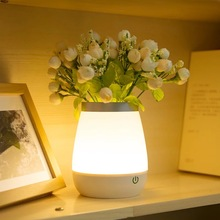 Free shipping Romantic flower wase desk lamp Creative bedside aiming Night lamps Touch gift lights Fashion living room USB lamps(China)