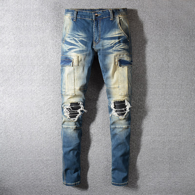 Fashion Streetwear Men Jeans Retro Blue Spliced Designer Ripped Jeans Patch Big Pocket Denim Cargo Pants Hip Hop Slim Jeans Men