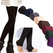 Brushed Lining Stretch Fleece Pants Trample Feet Leggings Women's Autumn Winter THICK Warm Legging