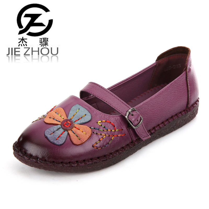 Spring Retro Genuine leather Flats Large size anti-skid Women shoes embroidery leisure Peas pregnant women shoes Ballet Flats<br>