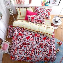 2017 best selling products reactive printed adult Red Heart Duvet Cover  set full/twin size flat sheet designer bedding sets