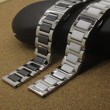 High Quality General 16mm 18mm 20mm men ladyWatch Band Black White with Stainless steel  Silver Ceramic Watchband Diamond Watch