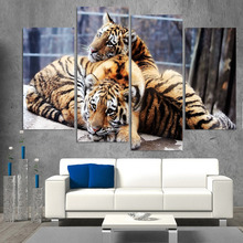 4 Panel Canvas Art Canvas Painting Baby Tigers Couple Cubs HD Printed Wall Art Poster Home Decor Picture for Living Room XA080C(China)